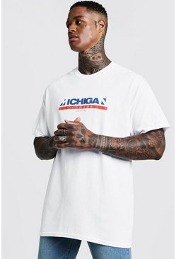 Oversized Michigan Front Print T-Shirt, White, Uomo
