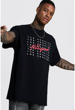 Oversized Hollywood Puff Print T-Shirt, Black, HOMBRE