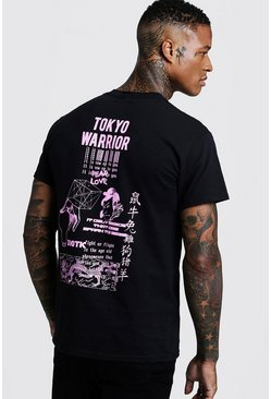 Mens Black Front & Back Fear Love Print T-Shirt