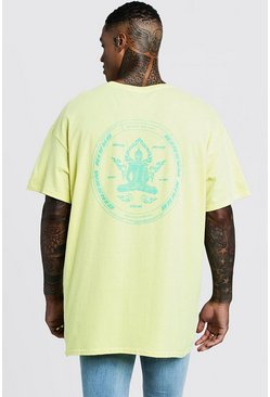 Front & Back Print Brain Washer T-Shirt, Yellow, HERREN