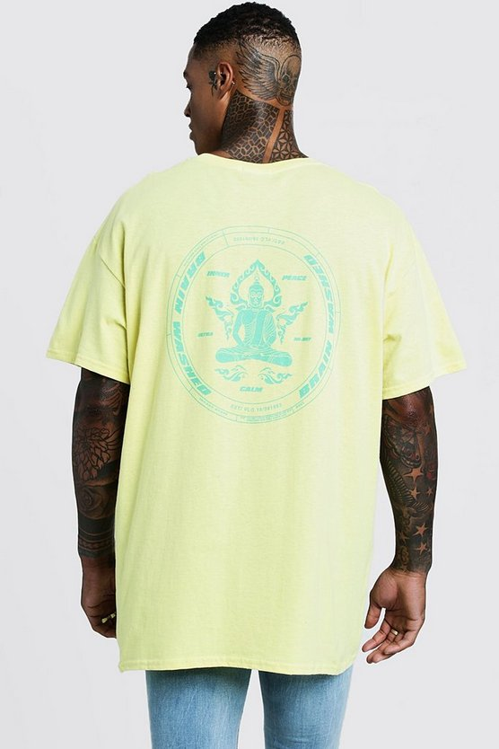 Mens Yellow Front & Back Print Brain Washer T-Shirt