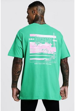 Mens Green Back Print Dynamo T-Shirt