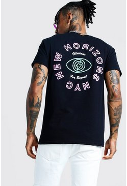 Mens Black Back Print Horizons T-Shirt
