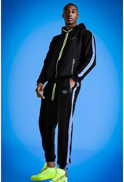 Mist Zip Through Hooded Tracksuit, Black, HOMMES