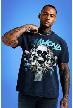 Mens Charcoal Mist Oversized Acid Wash Skull Print T-Shirt