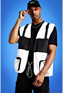 Mist Utility Vest With Strap Detail, White, HOMMES