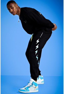 Mens Black Mist Sweater Tracksuit With Print