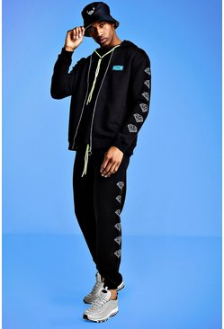 Mens Black Mist Printed Zip Through Tracksuit