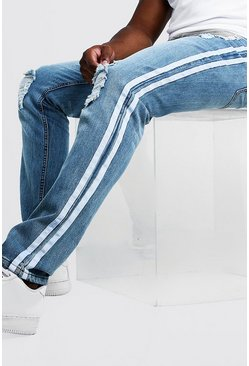 Mens Blue Big & Tall Skinny Fit Distressed Jean