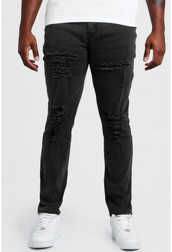 Mens Grey Big & Tall Skinny Fit Jeans All Over Rips