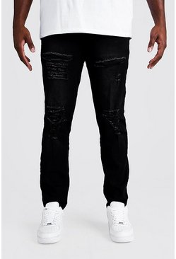 Mens Washed black Big & Tall Skinny Fit Jeans All Over Rips