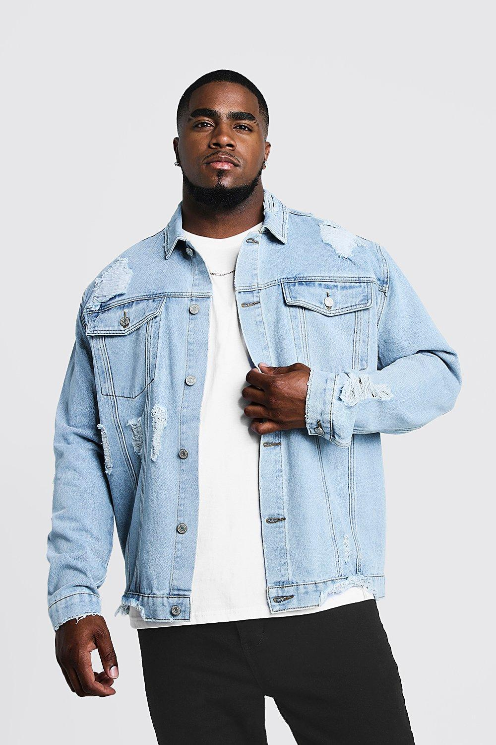 top-rated real hot-selling cheap incredible prices Big & Tall Denim Jacket Heavy Distressing | Boohoo
