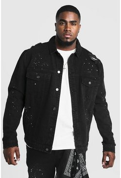 Big  & Tall Denim-Jacke mit Bandana-Flicken, Schwarz