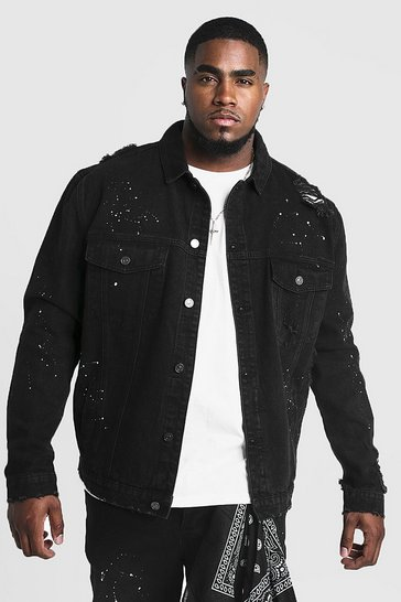 Black Big & Tall Denim Jacket With Bandana Repair