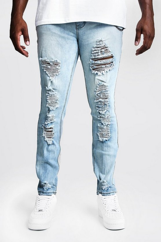Light blue Big & Tall Skinny Fit Jeans With Distressing