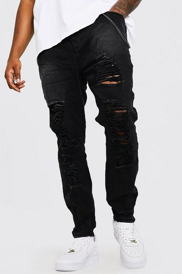 Mens Black Big & Tall Skinny Fit Jeans With Distressing