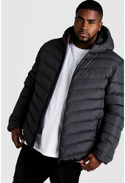 Mens Grey Big & Tall Quilted Zip Jacket With Hood