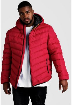 Red Big & Tall Quilted Zip Jacket With Hood