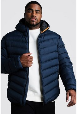 Navy Big & Tall Quilted Zip Jacket With Hood