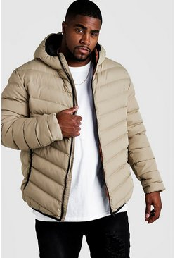 Mens Stone Big & Tall Quilted Zip Jacket With Hood