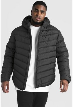 Black Big & Tall Quilted Zip Jacket With Hood