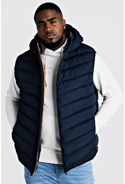 Navy Big & Tall Quilted Zip Through Gilet With Hood