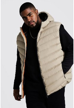 Stone Big & Tall Quilted Zip Through Gilet With Hood