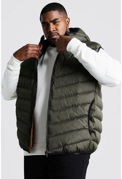 Mens Khaki Big & Tall Quilted Zip Through Gilet With Hood