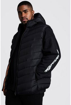 Mens Black Big & Tall Quilted Zip Gilet With Hood
