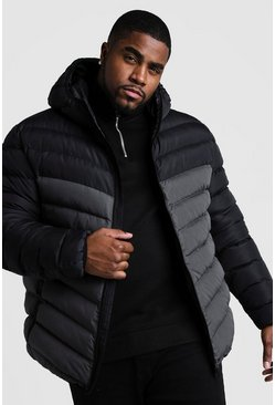 Grey Big & Tall Quilted Zip Jacket With Colour Block