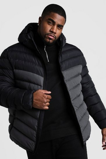 Mens Grey Big & Tall Quilted Zip Jacket With Colour Block
