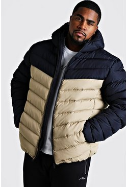 Mens Stone Big & Tall Quilted Zip Jacket With Colour Block