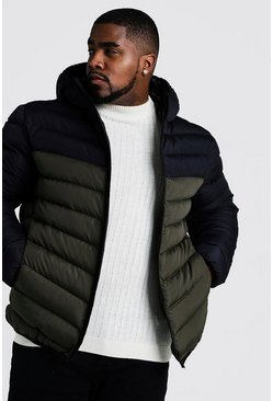 Khaki Big & Tall Quilted Zip Jacket With Colour Block