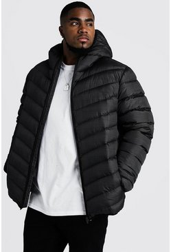 Mens Black Big & Tall Quilted Jacket With Check Print