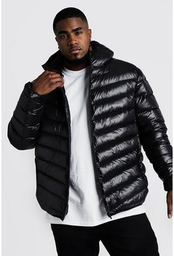 Black Big & Tall Quilted Zip Jacket With Shine