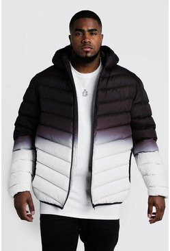 Black Big & Tall Quilted Zip Jacket Gradient Print