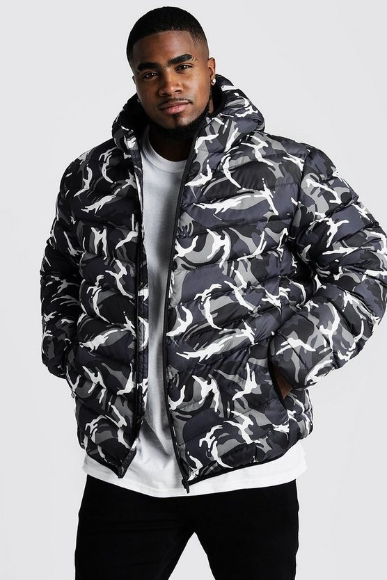 Big & Tall Quilted Zip Jacket With Camo Print