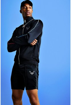 Mens Black Mist Short Zip Through Tracksuit