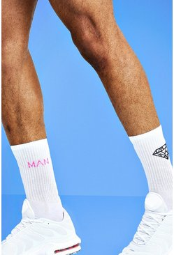 Mens White Mist 2 Pack Diamond Socks
