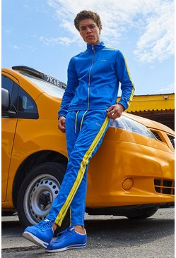 Mens Cobalt Original MAN Tricot Tracksuit With Side Tape