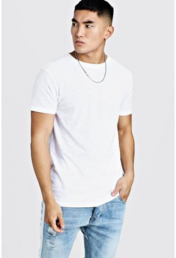 Slub Crew Neck T-Shirt, White, HERREN