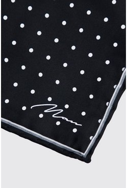 Mens Black Polka Dot Pocket Square