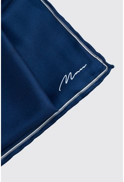 Navy MAN Script Pocket Square