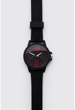 Mens Red Silicone Sport Face Watch