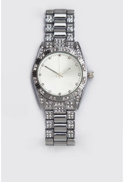 Mens Silver Diamante Bracelet Strap Watch