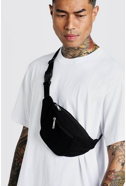 Mens Black Nylon Pocket Bumbag