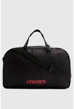 Mens Black MAN Print Holdall