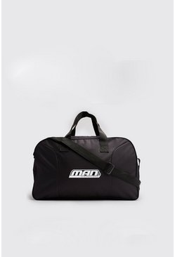 Mens Black MAN International Print Holdall
