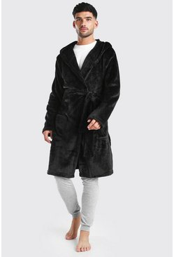 Mens Black MAN Embroidery Soft Fleece Robe