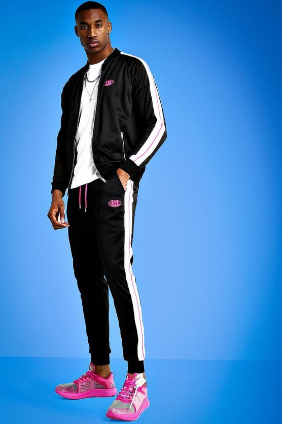 Mens Pink Mist Zip Through Tracksuit With Tape Detail